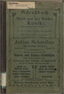 Adreßbuch der Stadt und des Kreises Konitz nach dem Stande vom 1. August 1908 : auf Grund amtlicher Unterlagen zusammenstellt