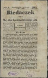 Biedaczek : czyli mały i tani tygodnik dla biednego ludu, 1848.10.25 R. 1 nr 1