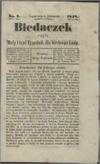 Biedaczek : czyli mały i tani tygodnik dla biednego ludu, 1848.11.01 R. 1 nr 2