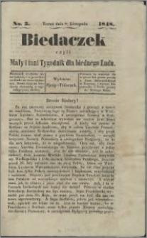 Biedaczek : czyli mały i tani tygodnik dla biednego ludu, 1848.11.08 R. 1 nr 3