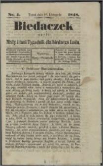 Biedaczek : czyli mały i tani tygodnik dla biednego ludu, 1848.11.16 R. 1 nr 4