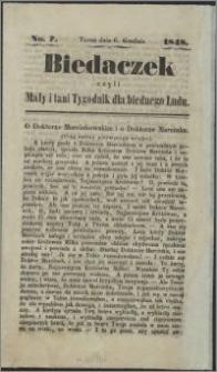 Biedaczek : czyli mały i tani tygodnik dla biednego ludu, 1848.12.06 R. 1 nr 7
