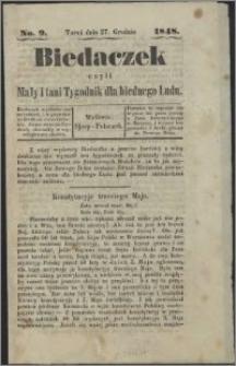 Biedaczek : czyli mały i tani tygodnik dla biednego ludu, 1848.12.27 R. 1 nr 9