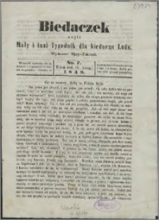 Biedaczek : czyli mały i tani tygodnik dla biednego ludu, 1849.02.16 R. 2 nr 7