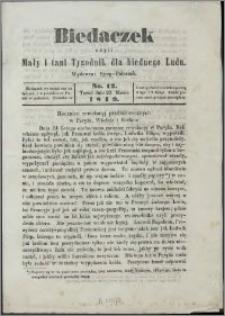 Biedaczek : czyli mały i tani tygodnik dla biednego ludu, 1849.03.23 R. 2 nr 12