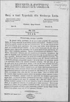 Biedaczek : czyli mały i tani tygodnik dla biednego ludu, 1849.04.01 R. 2 nr 14
