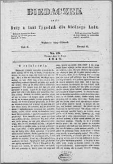 Biedaczek : czyli mały i tani tygodnik dla biednego ludu, 1849.05.09 R. 2 nr 19
