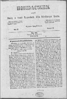 Biedaczek : czyli mały i tani tygodnik dla biednego ludu, 1849.06.13 R. 2 nr 24