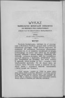Wykaz ważniejszych materyałów źródłowych do historyi Prus Królewskich zawartych w bibliotekach warszawskich