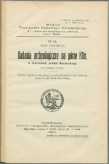 Badania archeologiczne na górze Klin w Iwanowicach, powiatu Miechowskiego