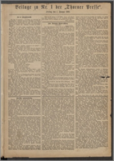 Thorner Presse 1886, Jg. IV, Nro. 1 + Beilage