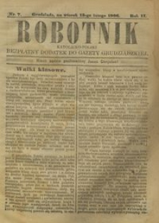 Robotnik Katolicko - Polski : bezpłatny dodatek do Gazety Grudziądzkiej 1906.02.13 R.2 nr 7
