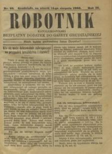 Robotnik Katolicko - Polski : bezpłatny dodatek do Gazety Grudziądzkiej 1906.08.14 R.2 nr 33