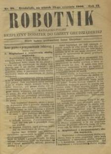 Robotnik Katolicko - Polski : bezpłatny dodatek do Gazety Grudziądzkiej 1906.09.18 R.2 nr 38