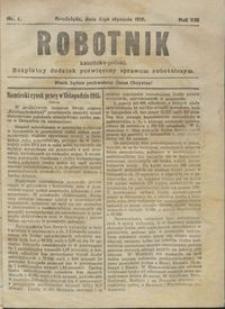 Robotnik Katolicko - Polski : bezpłatny dodatek poświęcony sprawom robotniczym 1916.01.04 R. 13 nr 1