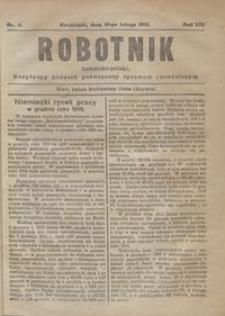 Robotnik Katolicko - Polski : bezpłatny dodatek poświęcony sprawom robotniczym 1916.02.19 R. 13 nr 4