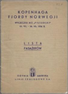 """Kopenhaga fjordy Norwegji : wycieczka M/S """"Piłsudski"""" 19. VII. - 30. VII. 1936 r. Lista pasażerów"""
