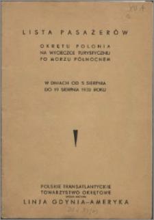 Lista pasażerów Okrętu Polonia na wycieczce turystycznej po Morzu Północnem w dniach od 5 sierpnia do 19 sierpnia 1932 roku