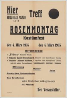 [Afisz] : [Inc.:] Hier Hotel Adler Pelplin, Lutz Treff Rosenmontag Kostümfest den 4. März 1935. [...] Stimmung, Humor, Tanz [...]