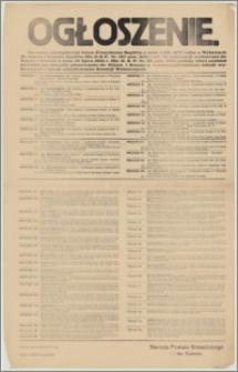 Ogłoszenie. [Inc.:] Na mocy zarządzenia Pana Prezydenta Rzplitej z dnia 3.XII.1927 roku w wyborach do Sejmu i Senatu Rzplitej [...] podaję niżej podział powiatu na obwody głosowania do Sejmu i Senatu z wyszczególnieniem lokali wyborczych i lokali urzędowania Komisji Wyborczych [...]