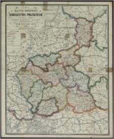 Mappa guberni Królestwa Polskiego z oznaczeniem odległości na drogach żelaznych, bitych i zwyczajnych ułożona i litografowana przez Marcelego Gotz