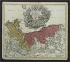 Ducatus Pomeraniae novissima tabula in anterio cum interiorem divisa quatenus subsunt Cornis Sueciae et Borussiae