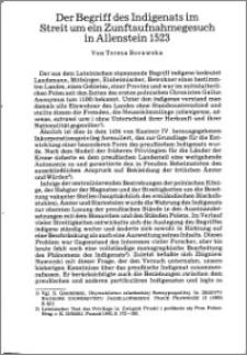 Der Begriff des Indigenats im Streit um ein Zunftaufnahmegesuch in Allenstein 1523