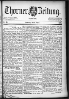 Thorner Zeitung 1887, Nr. 89 + Beilage