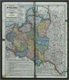 Mapa Polski w granicach obecnych z podziałem na województwa = Carte de la Pologne dans ses frontières actuelles avec partage en voiévodies (palatinats)