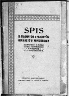 Spis b. filometów i filaretów Gimnazjów pomorskich : zestawiony z okazji zjazdu filomeckiego w Chełmnie, 12-14 września 1921 r.