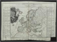 Neue Carte von Europa : welche die merkwürdigsten Produkte und vornehsten Handelspläze nebst dem Flächen = Inhalt aller Europäischen Lander in deutschen Quadrat = Meilen enthält