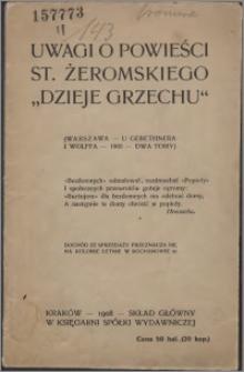 """Uwagi o powieści Stefana Żeromskiego """"Dzieje grzechu"""""""