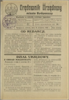 Orędownik Urzędowy Miasta Bydgoszczy, R.39, 1922, Nr 13
