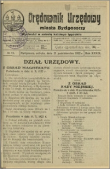 Orędownik Urzędowy Miasta Bydgoszczy, R.39, 1922, Nr 19