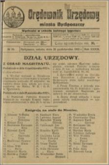 Orędownik Urzędowy Miasta Bydgoszczy, R.39, 1922, Nr 20