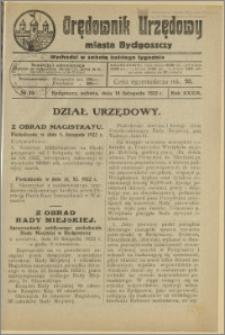 Orędownik Urzędowy Miasta Bydgoszczy, R.39, 1922, Nr 23