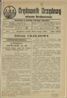 Orędownik Urzędowy Miasta Bydgoszczy, R.40, 1923, Nr 6