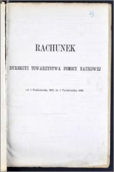 Rachunek Dyrekcyi Towarzystwa Pomocy Naukowéj z roku od 1 Października 1865 do 1 Października 1866