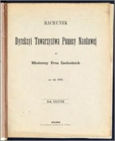 Rachunek Dyrekcyi Towarzystwa Pomocy Naukowej dla Młodzieży Prus Zachodnich za rok 1886