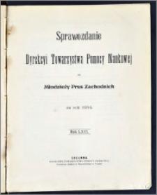 Sprawozdanie Dyrekcyi Towarzystwa Pomocy Naukowej dla Młodzieży Prus Zachodnich za rok 1914