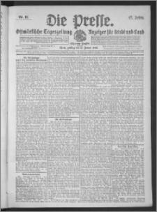 Die Presse 1909, Jg. 27, Nr. 12 Zweites Blatt, Drittes Blatt + Beilagenwerbung