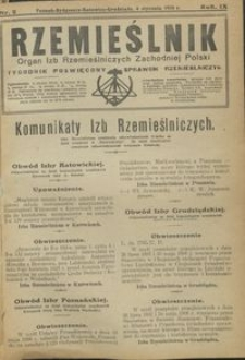Rzemieślnik : organ izb rzemieślniczych Zachodniej Polski : tygodnik poświęcony sprawom rzemieślniczym 1928.01.08 R. IX nr 2