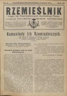 Rzemieślnik : organ izb rzemieślniczych Zachodniej Polski : tygodnik poświęcony sprawom rzemieślniczym 1928.01.22 R. IX nr 4