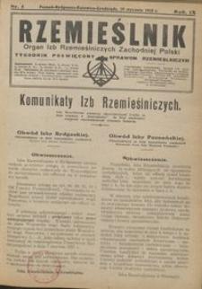 Rzemieślnik : organ izb rzemieślniczych Zachodniej Polski : tygodnik poświęcony sprawom rzemieślniczym 1928.01.29 R. IX nr 5