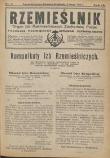 Rzemieślnik : organ izb rzemieślniczych Zachodniej Polski : tygodnik poświęcony sprawom rzemieślniczym 1928.02.05 R. IX nr 6