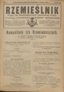 Rzemieślnik : organ izb rzemieślniczych Zachodniej Polski : tygodnik poświęcony sprawom rzemieślniczym 1928.02.12 R. IX nr 7