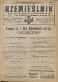 Rzemieślnik : organ izb rzemieślniczych Zachodniej Polski : tygodnik poświęcony sprawom rzemieślniczym 1928.02.19 R. IX nr 8