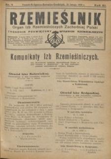 Rzemieślnik : organ izb rzemieślniczych Zachodniej Polski : tygodnik poświęcony sprawom rzemieślniczym 1928.02.26 R. IX nr 9