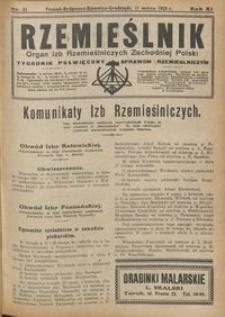 Rzemieślnik : organ izb rzemieślniczych Zachodniej Polski : tygodnik poświęcony sprawom rzemieślniczym 1928.03.11 R. IX nr 11