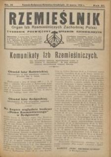 Rzemieślnik : organ izb rzemieślniczych Zachodniej Polski : tygodnik poświęcony sprawom rzemieślniczym 1928.03.18 R. IX nr 12